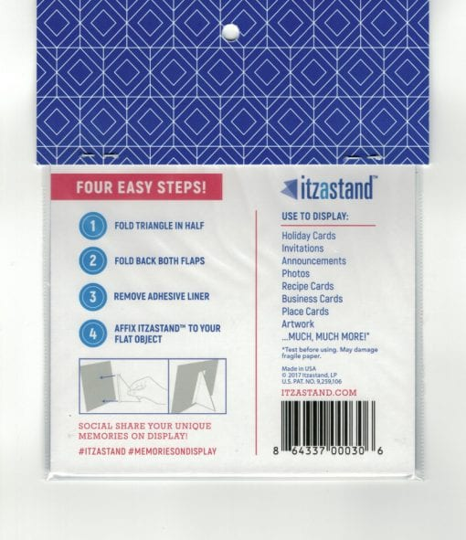 Itzastand Back of Packaging